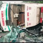 Ambulance carrying pregnant woman overturns in Delhi's Saket